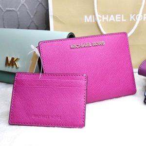 NWT Michael Kors Pink Wallet + Card Case Carryall